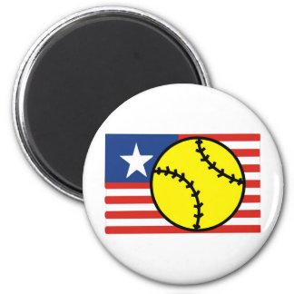 Softball USA 6 Cm Round Magnet