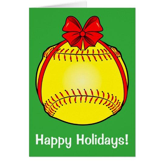 Softball with a Bow at Christmas Card
