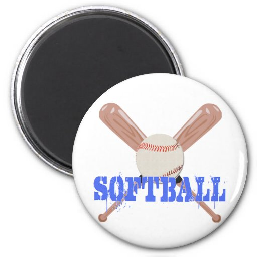 Softball with Bats Fridge Magnet