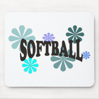 Softball with Blue Flowers Mouse Pad