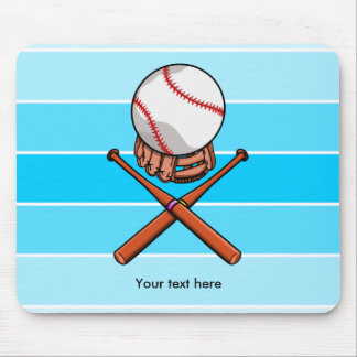 Softball With Blue Stripe Pattern Mouse Pad