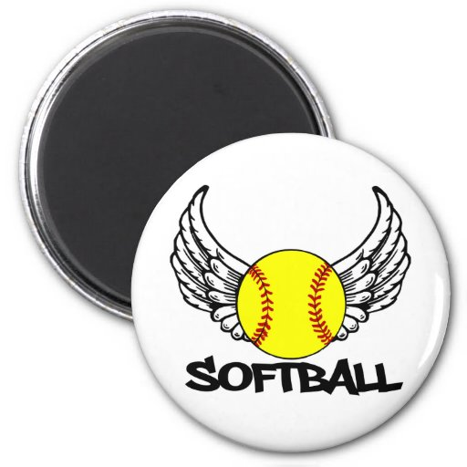 Softball with Wings Fridge Magnet