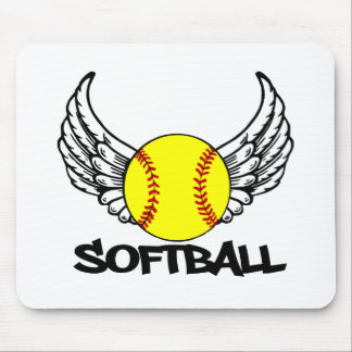 Softball with Wings Mouse Pads