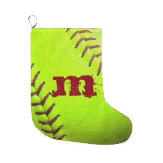 Softball Yellow Fast Pitch 8U Christmas Stocking