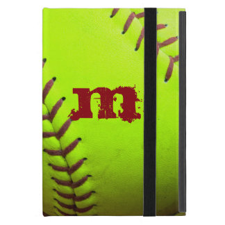 Softball Yellow Monogram Initial IPAD MINI Case