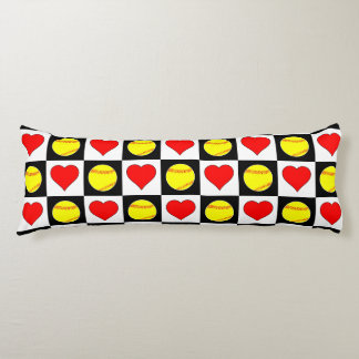 Softballs & Hearts Checkered Pattern Body Pillow