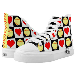 Softballs & Hearts Checkered Pattern Shoes