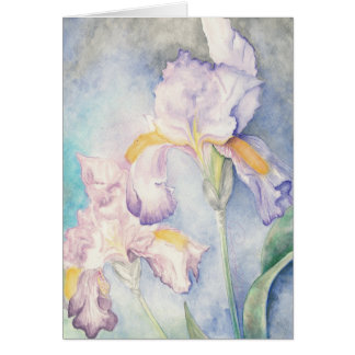 Softest Irises Floral Watercolour Note Card