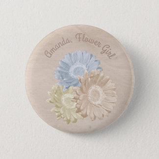 Softly Antiqued Flowers for the Flower Girl 6 Cm Round Badge