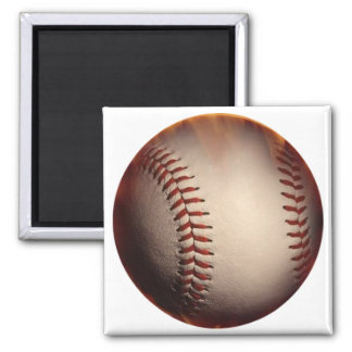 Softly Colored Baseball Changed To Red Square Magnet