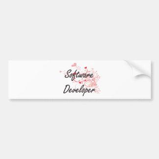 Software Developer Artistic Job Design with Hearts Bumper Sticker