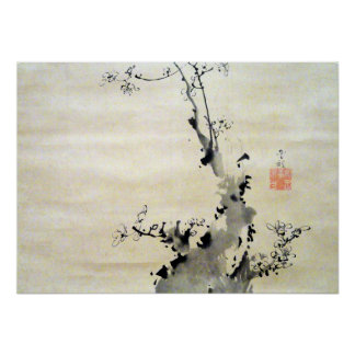 Soga Shohaku Branch of Blossoming Plum Poster