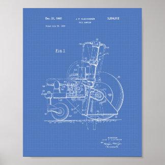 Soil Sampler 1965 Patent Art Blueprint Poster