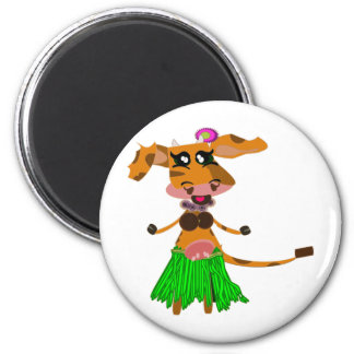 Sola, the hula-hula moo-cow. 6 cm round magnet