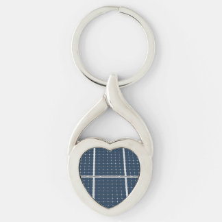 Solar Cell Panel Silver-Colored Twisted Heart Key Ring