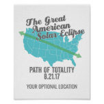 Solar Eclipse 2017 Path of Totality United States Poster