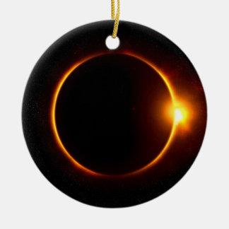 Solar Eclipse Dark Sun & Moon Ceramic Ornament