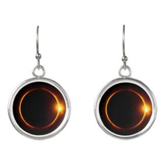 Solar Eclipse Dark Sun & Moon Earrings