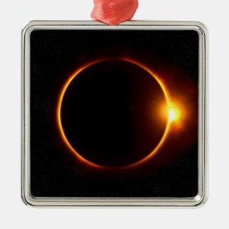 Solar Eclipse Dark Sun & Moon Metal Ornament