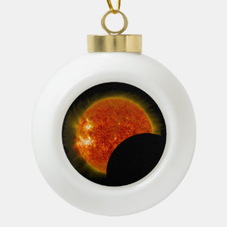 Solar Eclipse in Progress Ceramic Ball Christmas Ornament