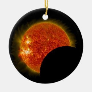 Solar Eclipse in Progress Ceramic Ornament