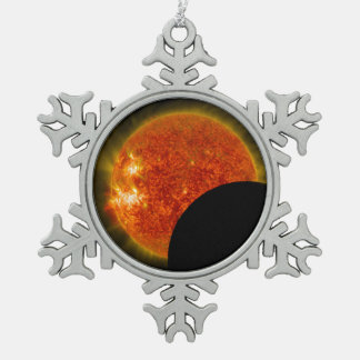 Solar Eclipse in Progress Snowflake Pewter Christmas Ornament