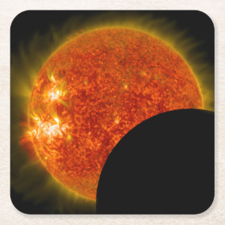 Solar Eclipse in Progress Square Paper Coaster