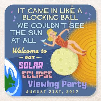 Solar Eclipse Party Funny Retro Sun Viewing 2017 Square Paper Coaster