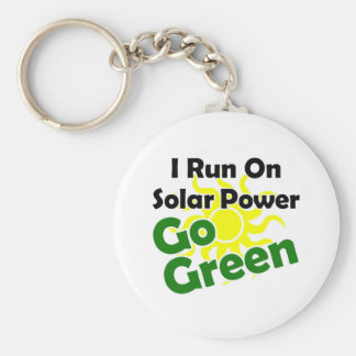 solar power basic round button key ring