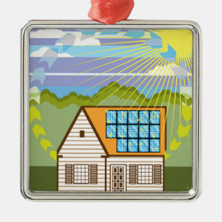 Solar Renewable Energy Eco Efficient Silver-Colored Square Decoration