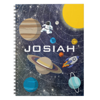 Solar System, Astronaut and Spaceship Spiral Notebooks