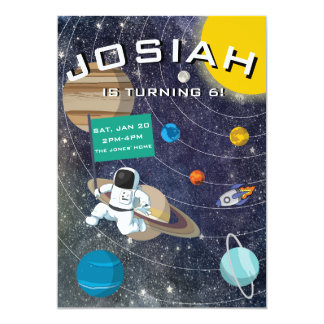 Solar System, Astronaut Birthday Party Invitation