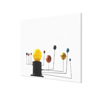 Solar system model on white background 4 canvas print