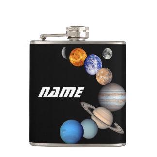 Solar System Montage JPL Photos - Customize Name Hip Flask