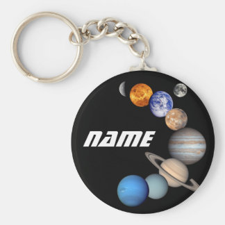 Solar System Montage JPL Photos - Customize Name Key Ring