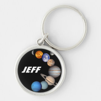 Solar System Montage JPL Planet Photos - Add Name Key Ring