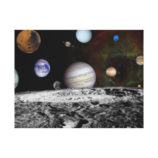 Solar System Montage of Voyager Images Canvas Print