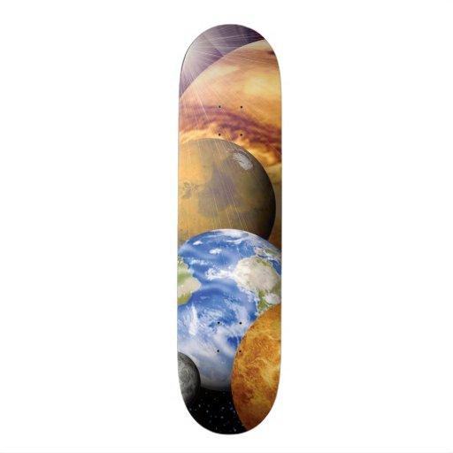 Solar System Montage Custom Skate Board