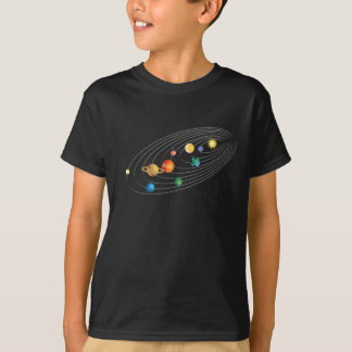 Solar System on Kids Black Tee