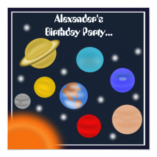 Solar System Outer Space Birthday Party Custom Invites