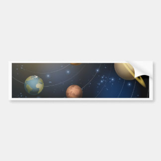 Solar system planets illustration bumper stickers