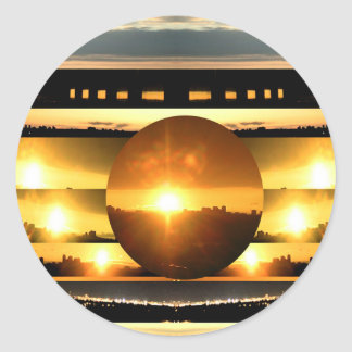 SOLAR SYSTEM:   SUN SET: Golden Healing Energy Round Sticker