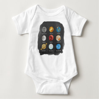 Solar System Watercolor Onsie Baby Bodysuit