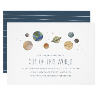 Solar System Watercolor Party Invitation