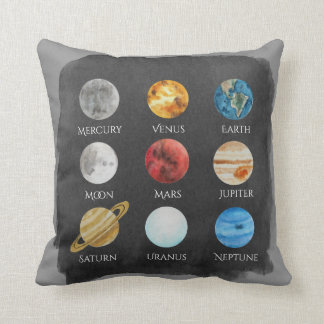 Solar System Watercolor Pillow