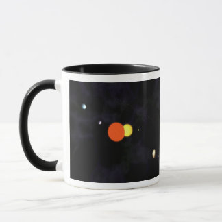 Solar system with a binary star and four planets mug