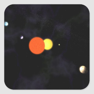 Solar system with a binary star and four planets square sticker