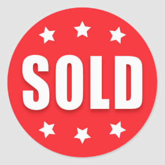 Sold retail stickers with stars, red and white