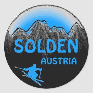 Solden Austria blue ski logo art stickers