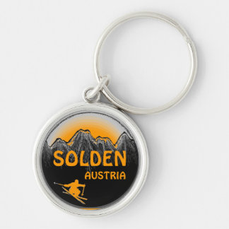 Solden Austria orange ski art keychain